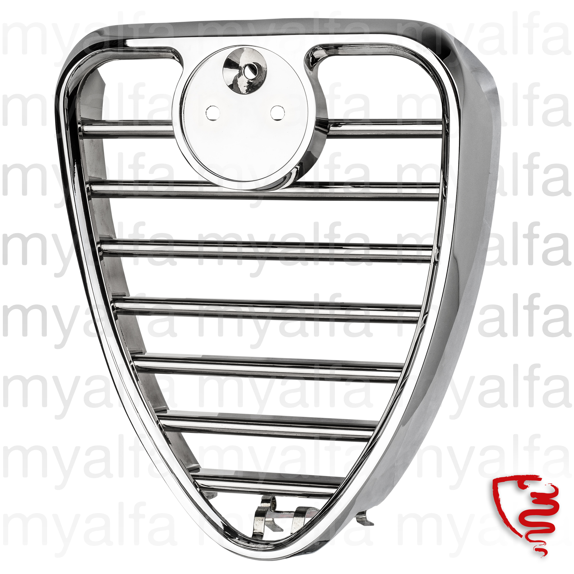 Escudeto central 2nd series 1300-1750 for 105/115, Coupe, Body parts, Chrome Parts, Front
