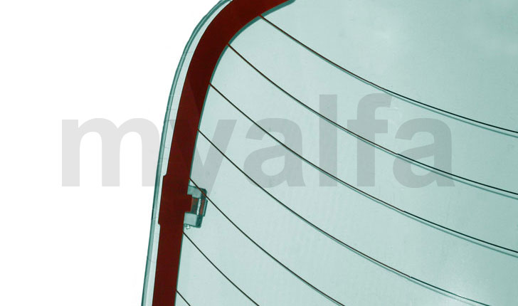 Rear window w / w strength / GT Bertone - Green thermal for 105/115, Coupe, Body parts, Glass Parts, Front/Rear Windows