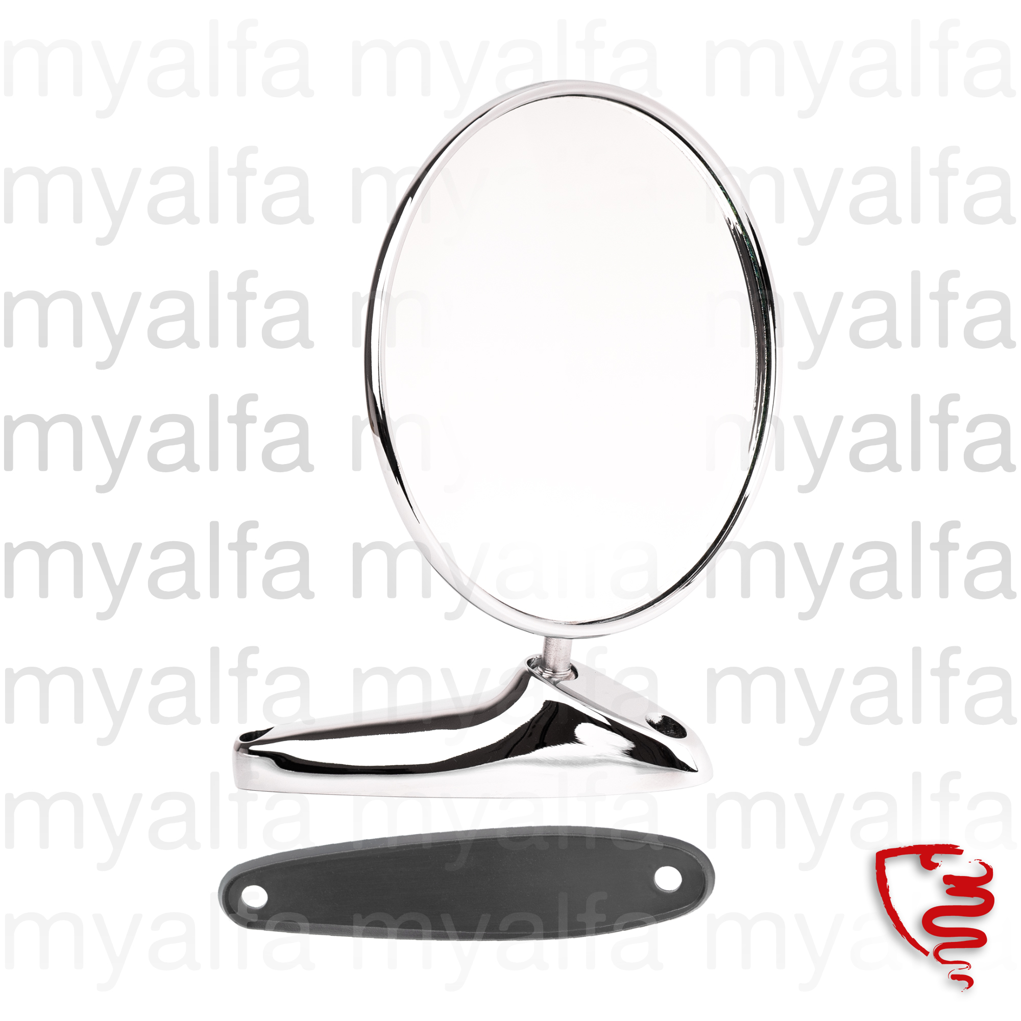 Round mirror with Alfa Romeo badge for 105/115, Body parts, Chrome Parts, Mirror