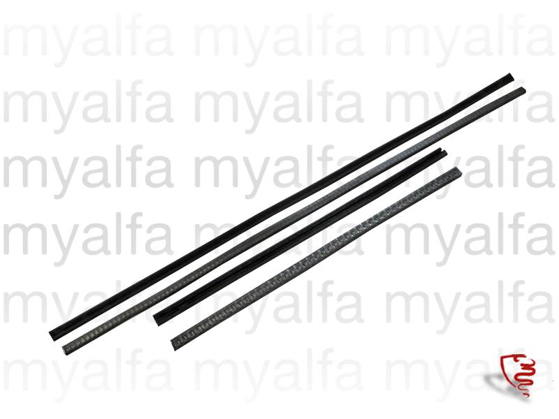 Set rubber glass lift rails (750/101) for 102/106, 750/101, Body parts, Rubber parts, Door grommets/felt/seals