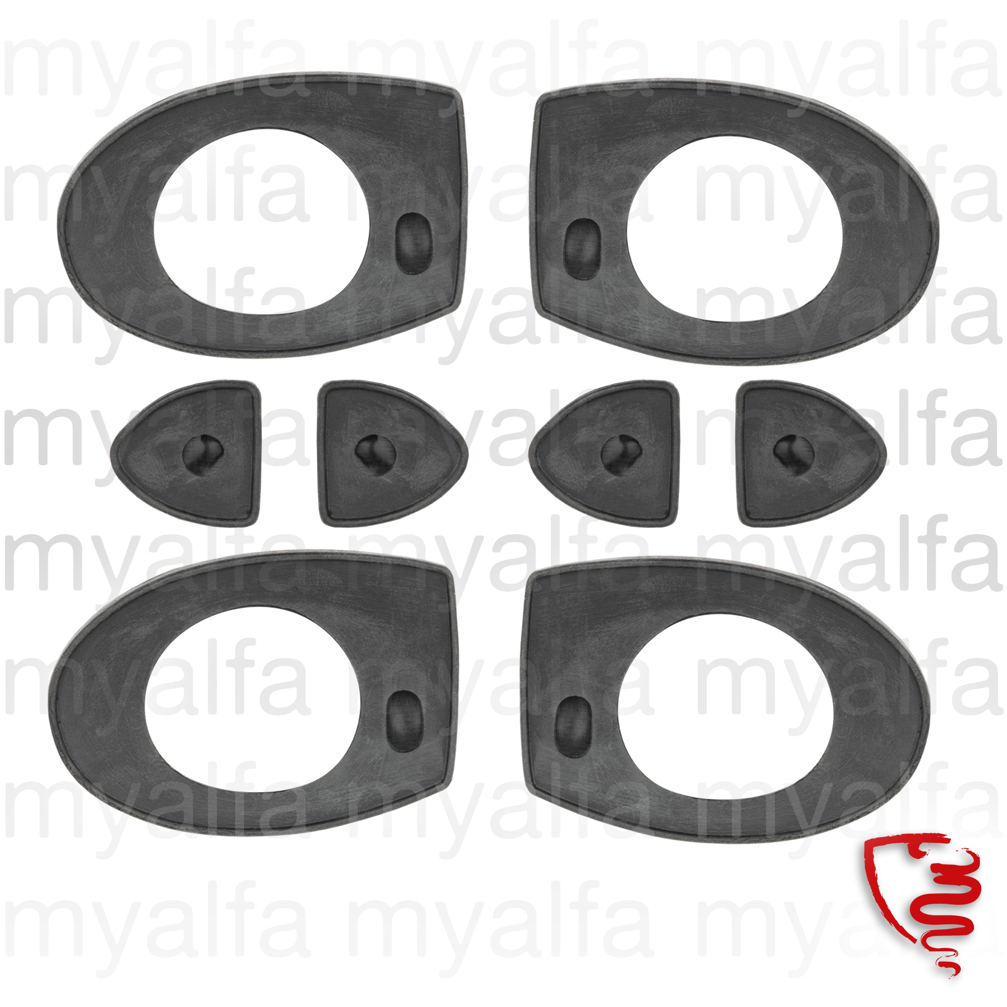 Jg. rubber handles doors Giulia 1969-77 for 105/115, Giulia, Body parts, Chrome Parts, Door, Rubber parts, Door grommets/felt/seals