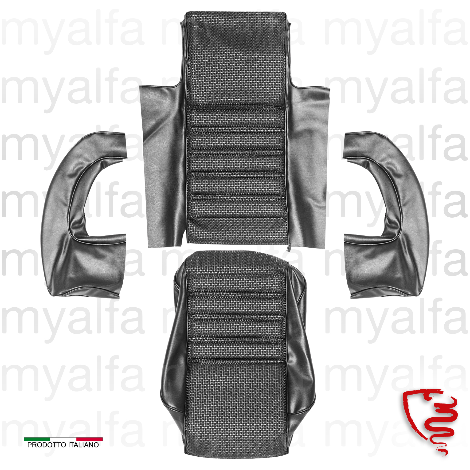 Covers front left seat. 1750 GTV 1st series - Black for 105/115, Coupe, 1750, Interior, Seats, Seat covers