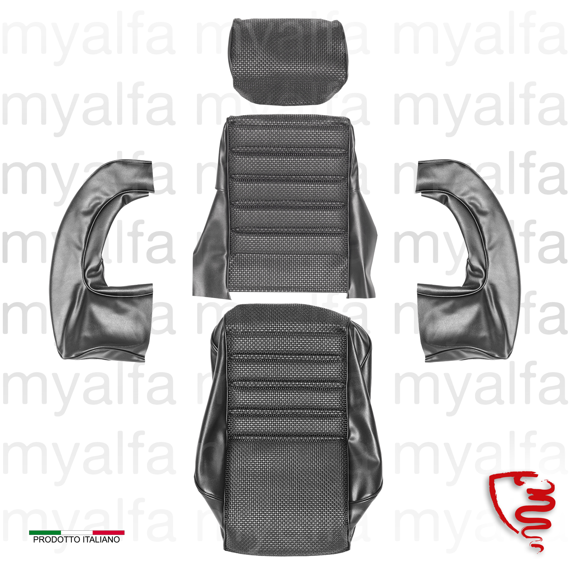 Covers front seat drt. 1750 GTV 1st series - Black for 105/115, Coupe, 1750, Interior, Seats, Seat covers