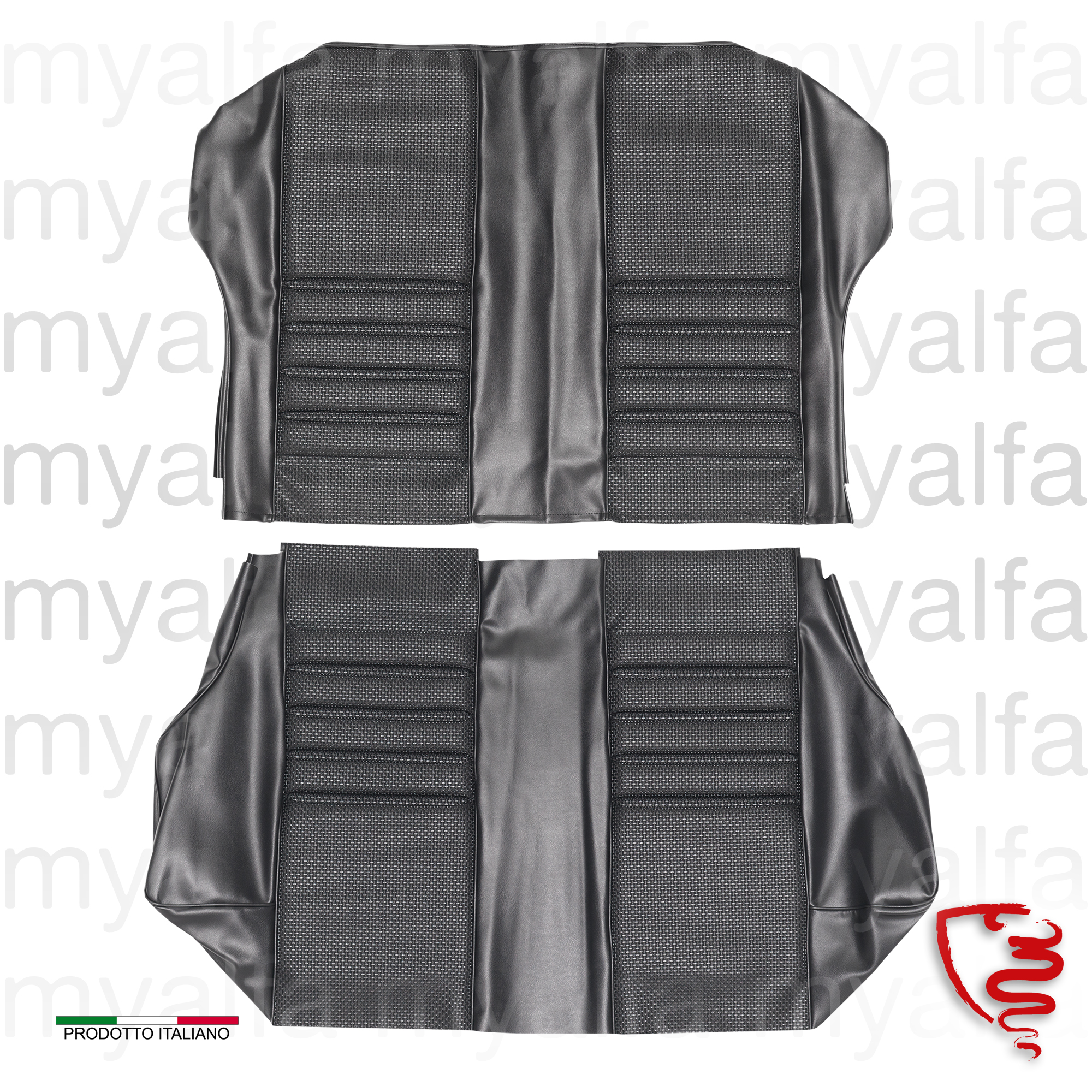 Covers rear seats 1750 GTV 1st series - Black for 105/115, Coupe, 1750, Interior, Seats, Seat covers
