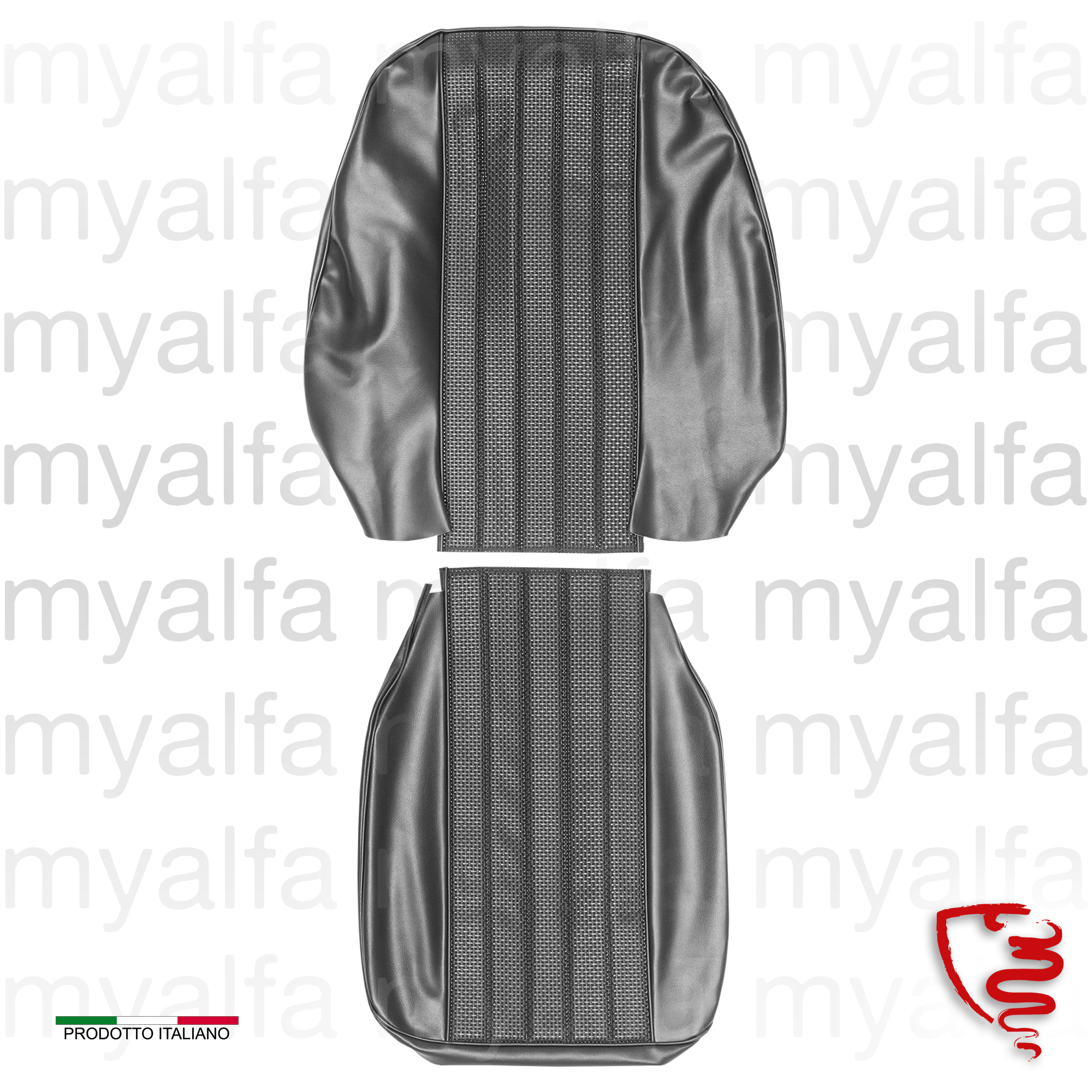 Front seat covers Sprint GTV 1965-68 - Black for 105/115, Coupe, Giulia Sprint GT, Interior, Seats, Seat covers
