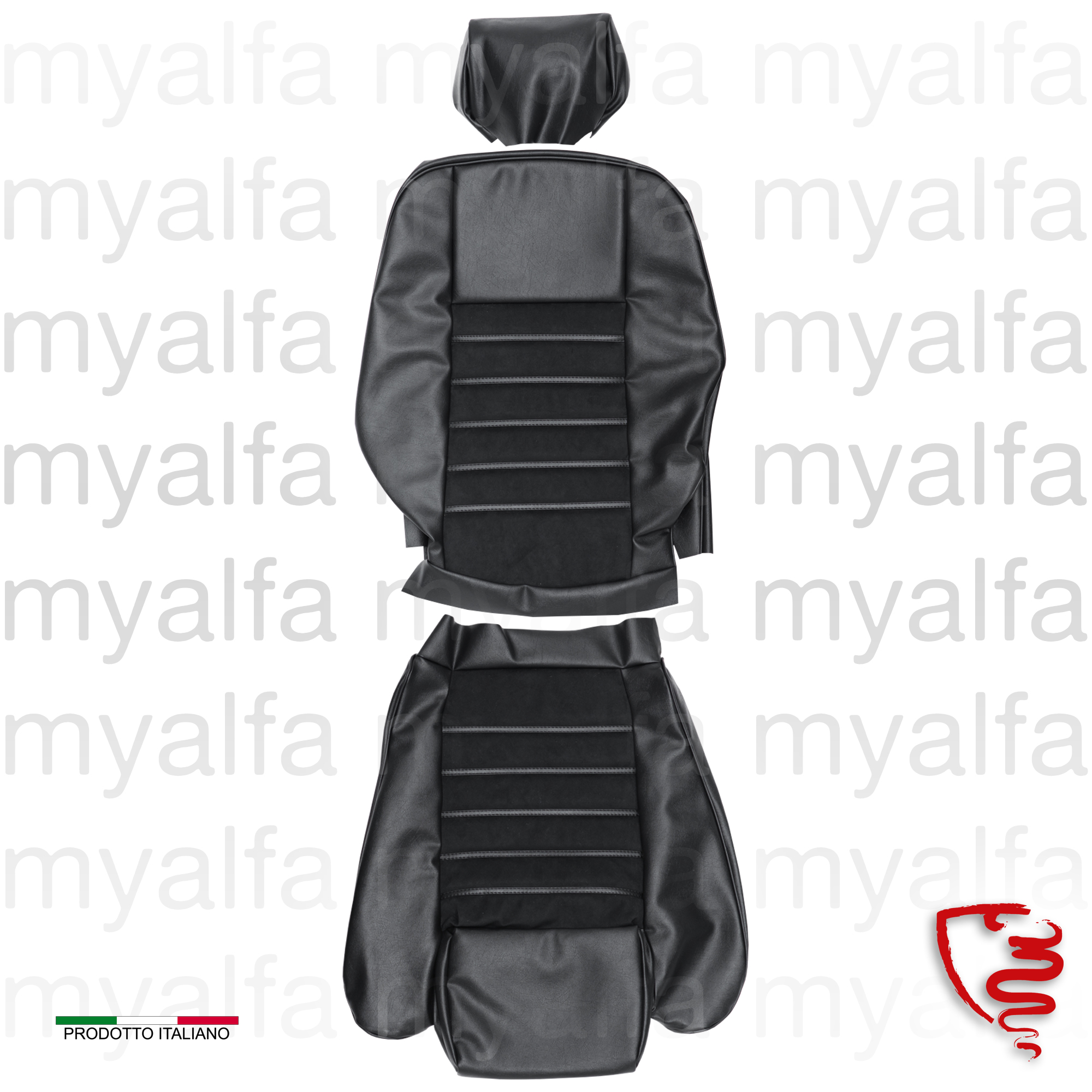 Spider seat cover 1990-93 Black Alcantara / Skay for 105/115, Spider, Interior, Seats, Seat covers