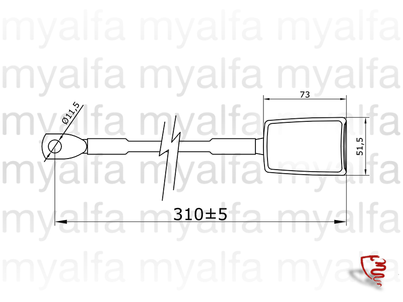 Front safety belt c / inertia - Conj. w / 1 side. for 105/115, Coupe, Interior, Seats, Seat belts