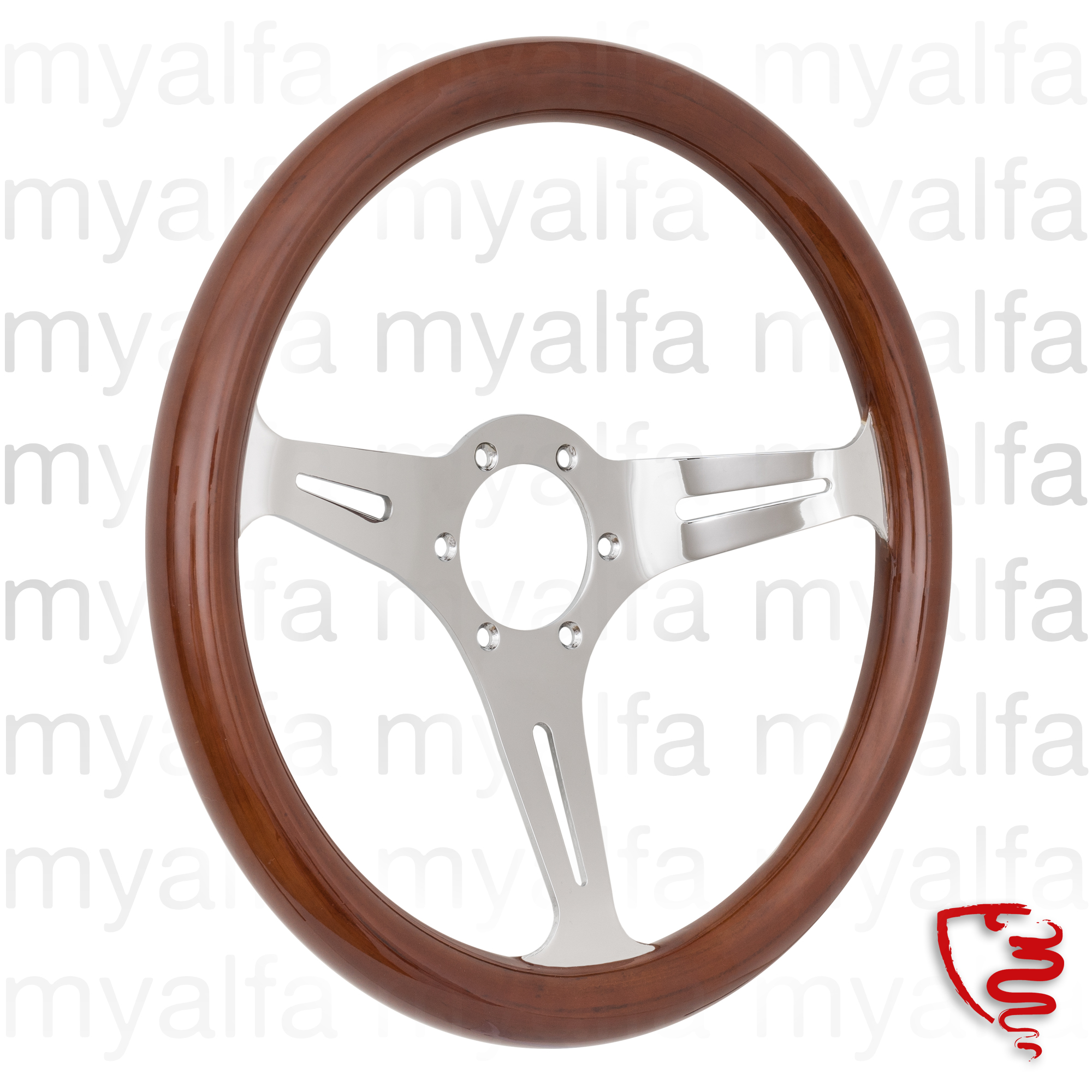 Steering wheel 350mm Mahogany Brown w / chrome arms for 105/115, Interior, Steering wheels, Wood