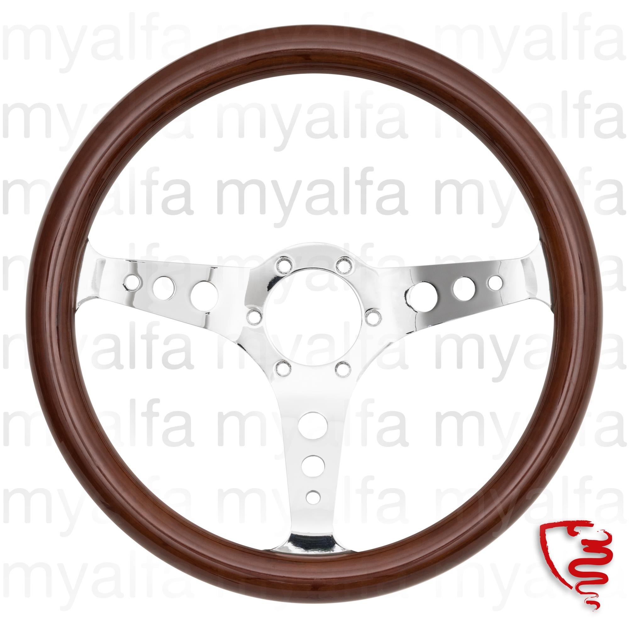 Mahogany steering wheel 350mm chrome radius c / drilling for 105/115, Interior, Steering wheels, Wood
