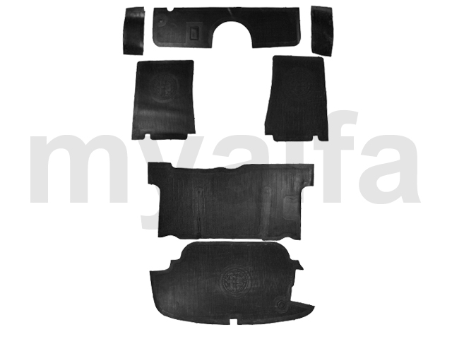 Set of mats in rubber Giulietta / Giulia Spider for 750/101, Spider, Interior, Flooring, Rubber mats