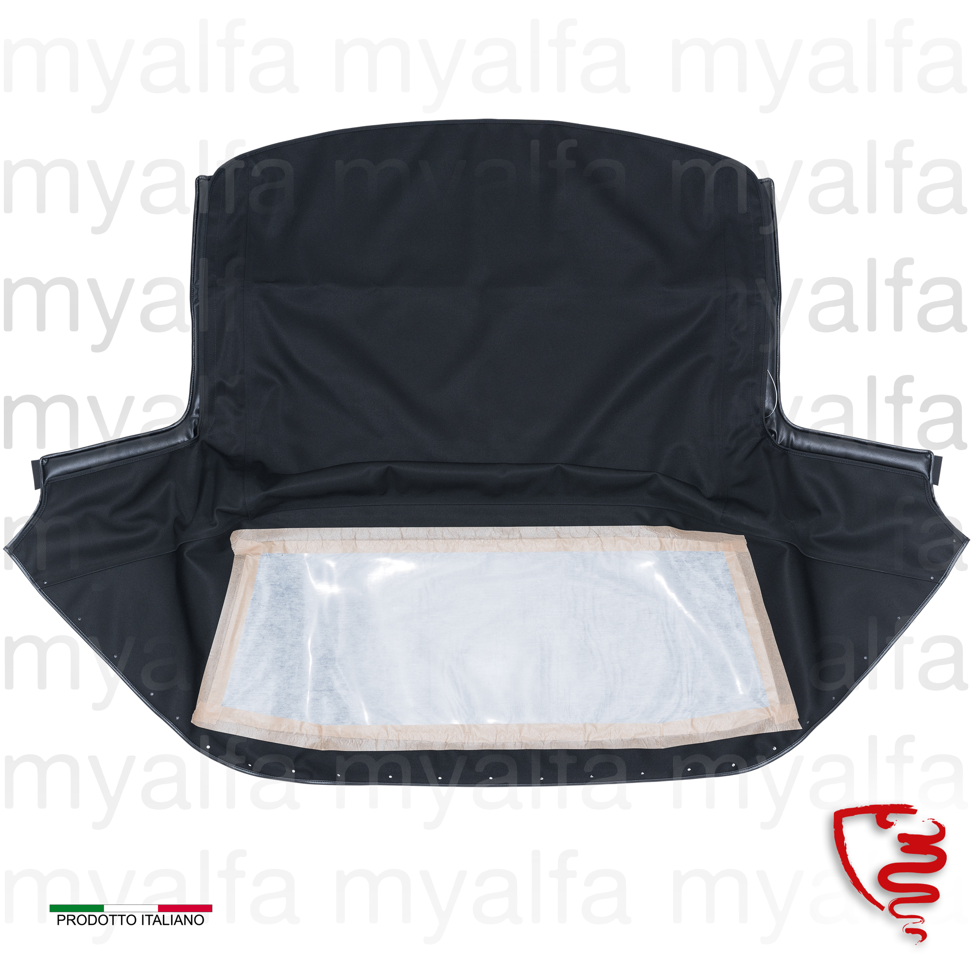 Bonnet black canvas on Sonneland Spider 1970-93 for 105/115, Spider, Body parts, Top Covers, Convertible top