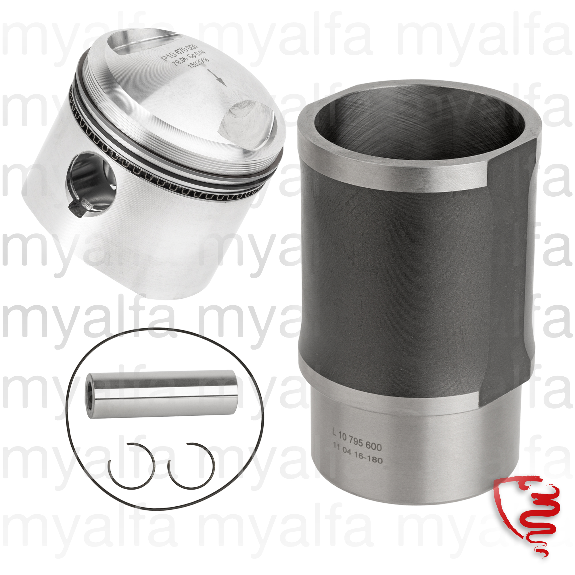 Shirts game, Pistons and segments GTV 1750 unit for 105/115, Engine, Engine Block, Piston/liner
