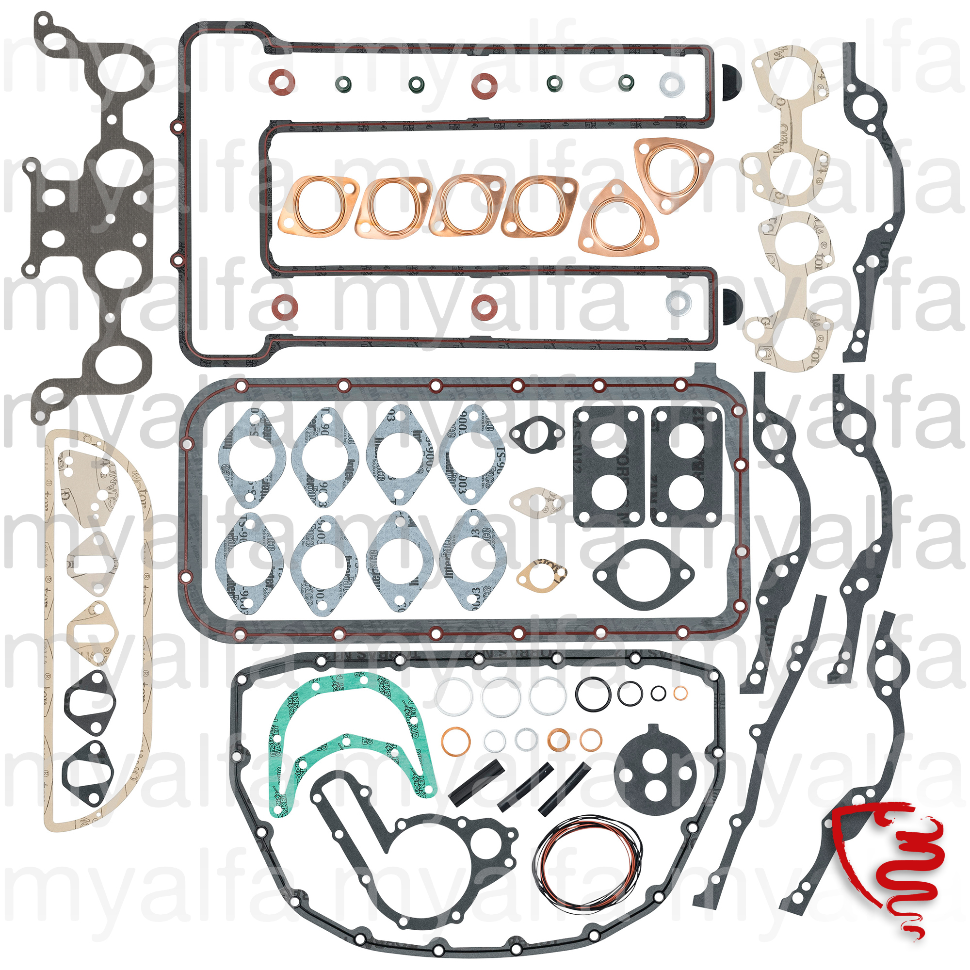 Playing together until 1968 1300-1600 without cylinder head gasket for 750/101, 105/115, Coupe, GTC, Junior, Engine, Engine Gaskets, Complete Gasket Sets