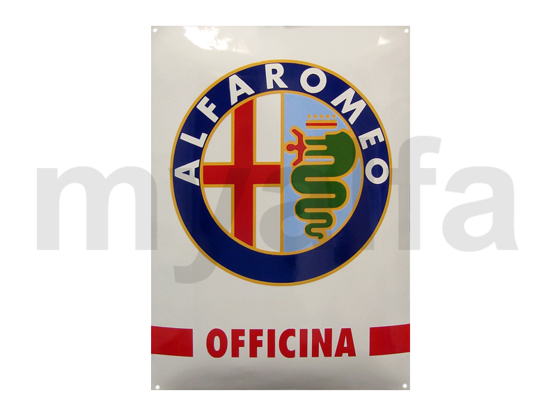 Enamelled plate Alfa Romeo Officina for Alfa Romeo, Accessories, Enamel sign boards