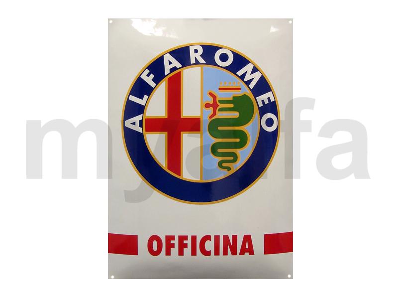 Enamelled plate Alfa Romeo Officina for Alfa Romeo, Accessories, Enamel sign boards