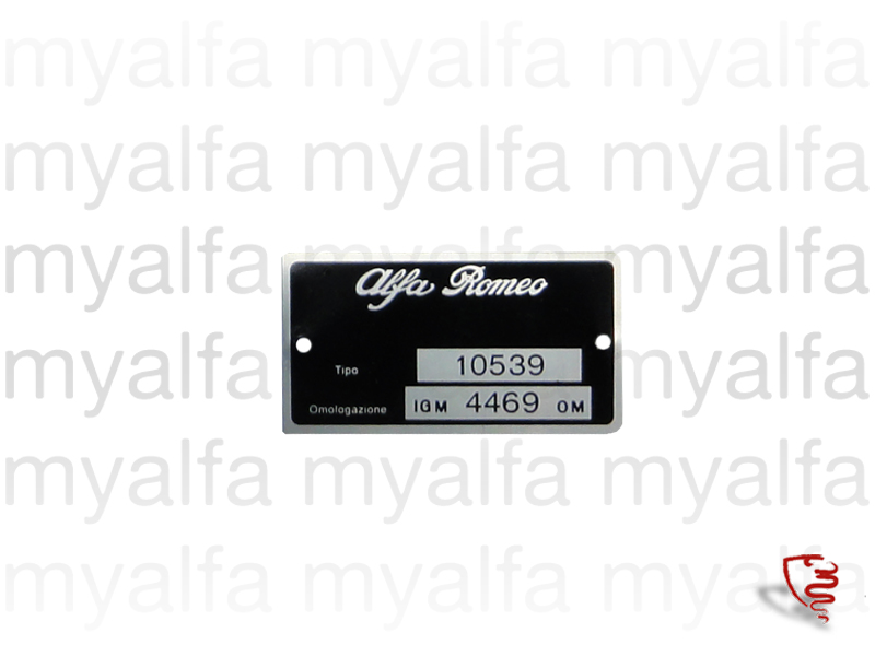 Plate approval Giulia 1300 TI Type 105.39 for 105/115, Giulia, Body parts, Type labels