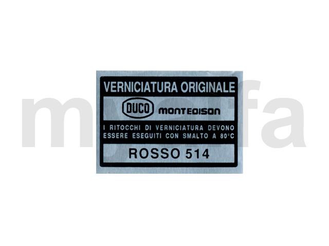 Bumper case color reference - AR 514 - Rosso Farina for Alfa Romeo, Accessories, Embroidered patches