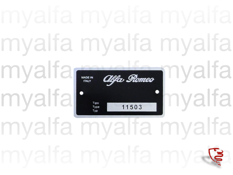 type plate 115.03 GT Junior 1.6 for 105/115, Coupe, Junior, Body parts, Type labels