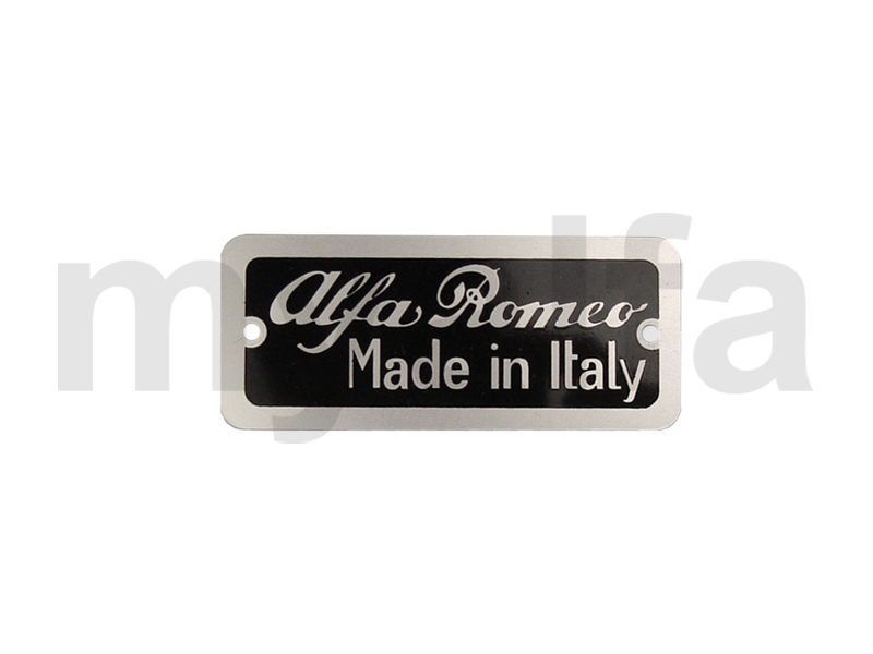 Plaque 'ALFA ROMEO made in Italy' for 750/101, Body parts, Type labels